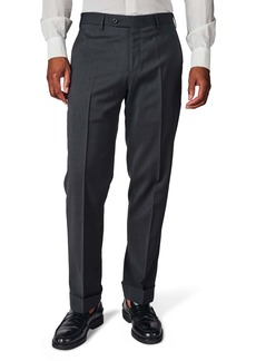 Zanella Parker Flat Front Solid Stretch Wool Trousers