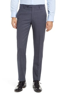 Zanella Parker Flat Front Textured Stretch Wool Trousers