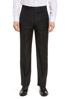 Zanella Todd Relaxed Fit Flat Front Solid Wool Dress Pants