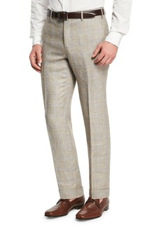 Zanella Windowpane Linen-Wool Flat-Front Trousers