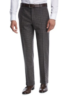 Zanella Windowpane Melange Wool/Silk Trousers