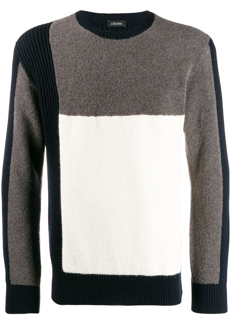 Zegna fleece patch jumper