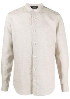 Zegna mandarin collar linen shirt