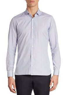 Zegna Micro Square Printed Cotton Shirt
