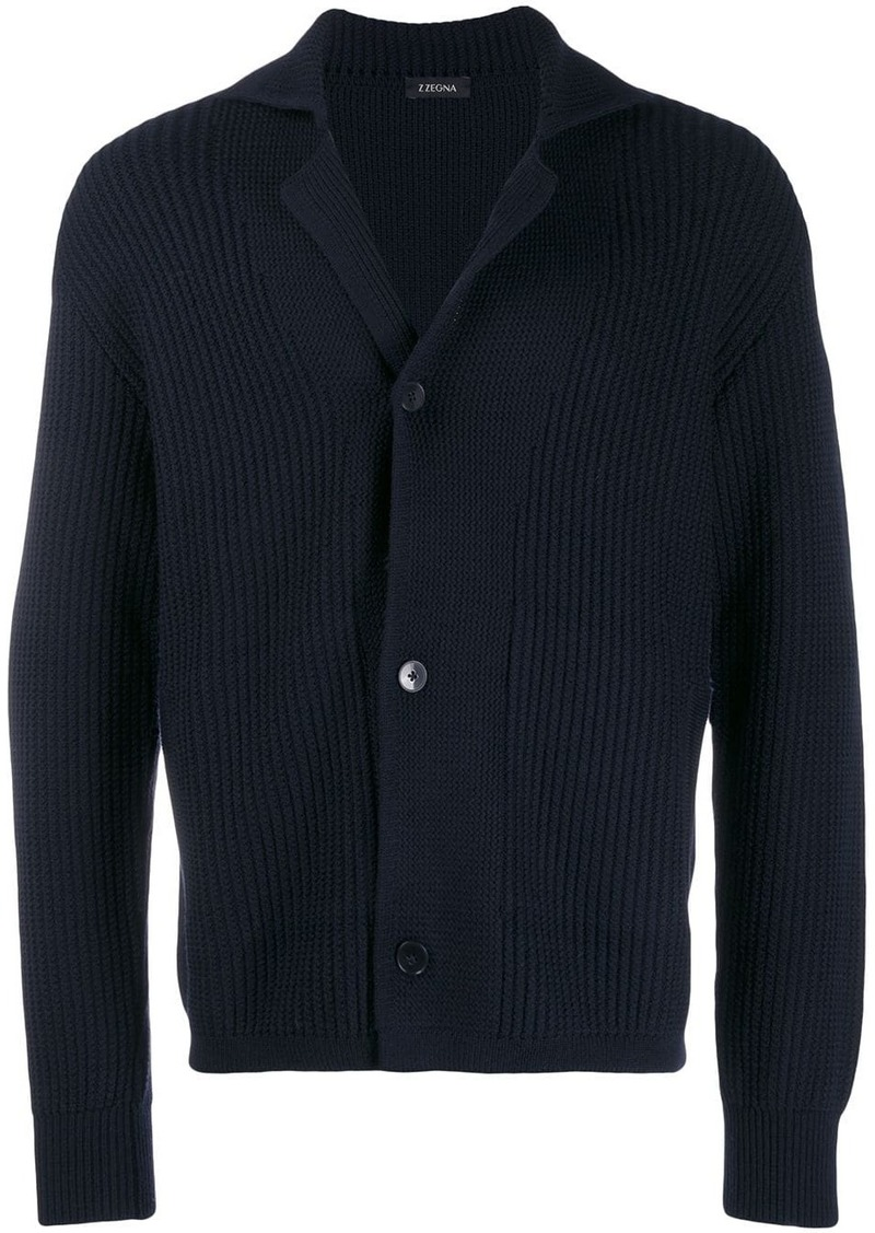Zegna ribbed long sleeve cardigan