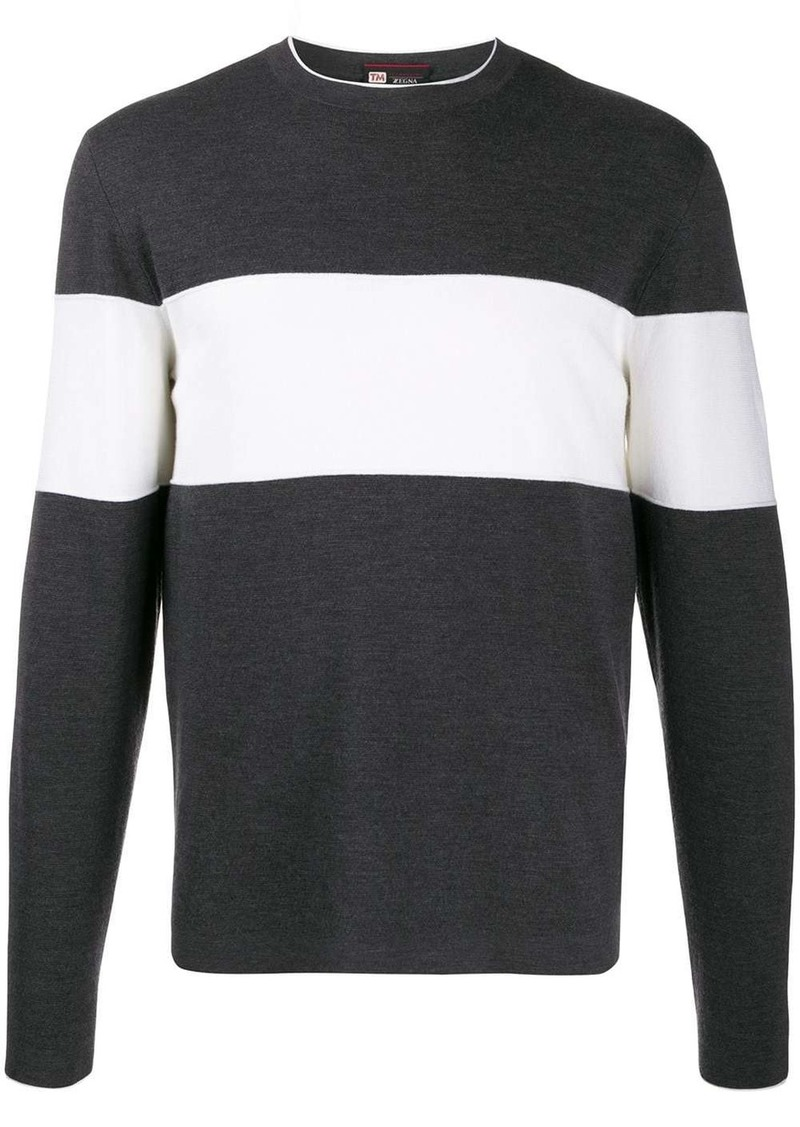 Zegna two-tone crewneck jumper