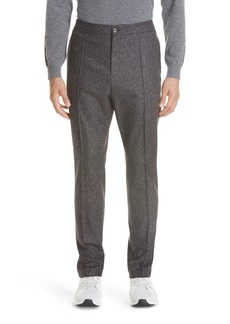 Z Zegna Flat Front Solid Wool Trousers