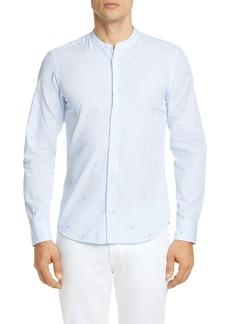 Z Zegna Tennis Stripe Band Collar Extra Slim Fit Sport Shirt