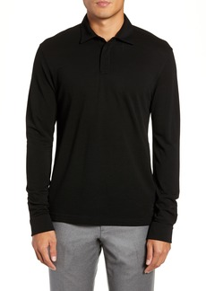 Z Zegna Trim Fit Wool Long Sleeve Polo Shirt