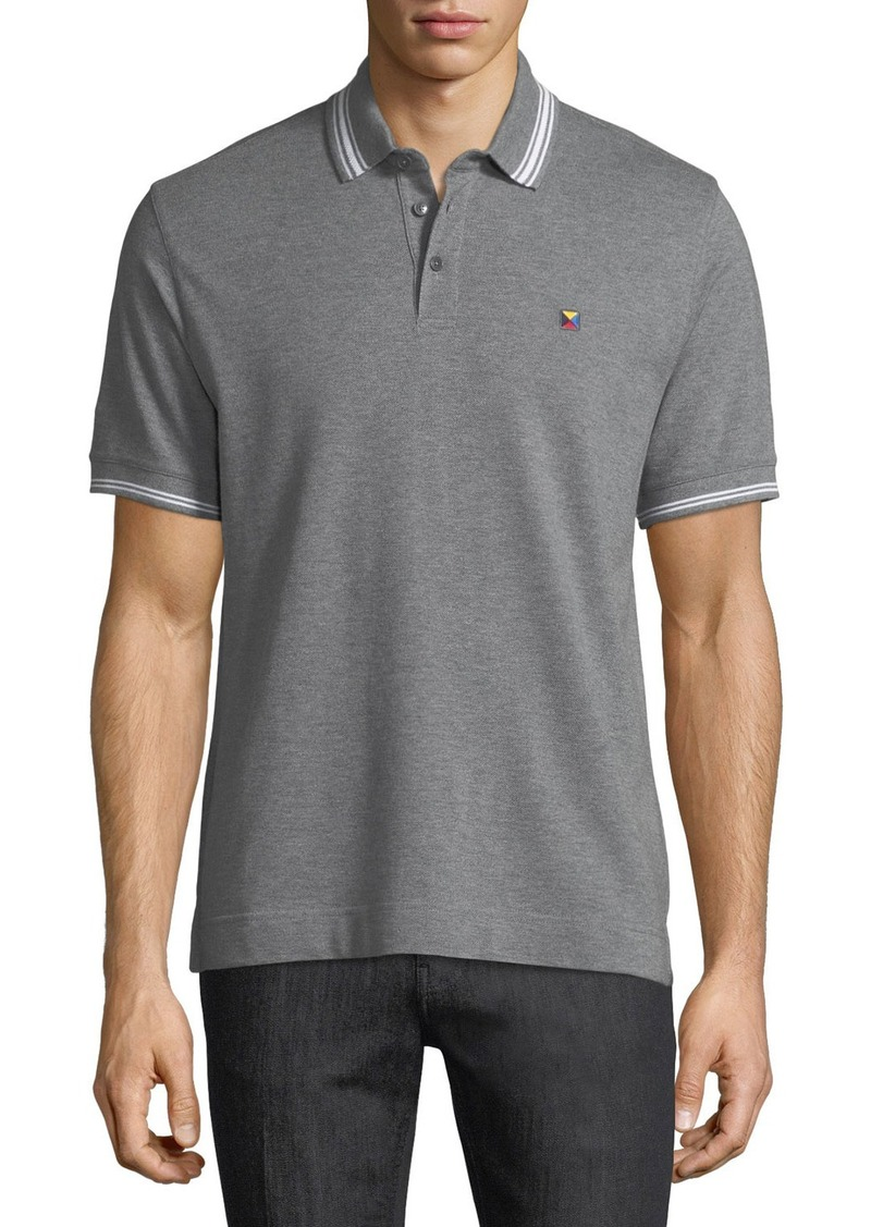 Zegna zegna sport pique polo shirt with iconic flag logo for Zegna polo shirts sale