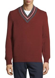 Zegna Sport Stripe-Neck Wool Sweater