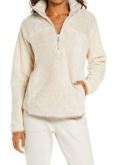 Zella Glacier Furry Fleece Quarter Zip Jacket