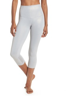 Zella Hatha High Waist Laminate Crop Leggings