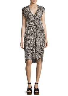 Zero + Maria Cornejo Cap-Sleeve Dot-Print Silk Dress