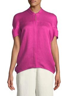 Zero + Maria Cornejo Concave Short-Sleeve Draped Twill Woven Shirt