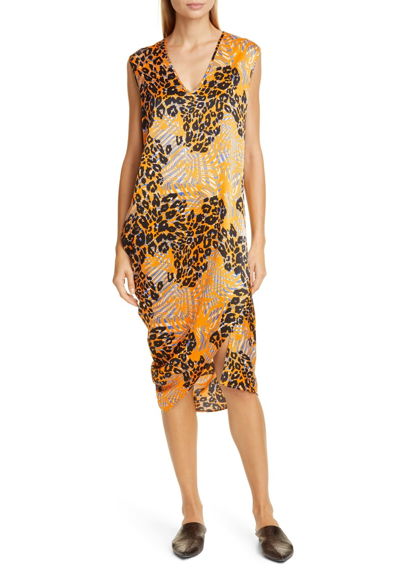 Zero + Maria Cornejo Curve Lui Mixed Print Stretch Silk Midi Dress