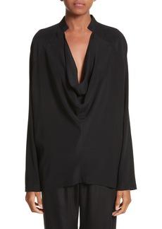 Zero + Maria Cornejo Drape Neck Stretch Silk Blouse
