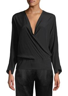 Zero + Maria Cornejo Jazmin Long-Sleeve Silk Wrap Top