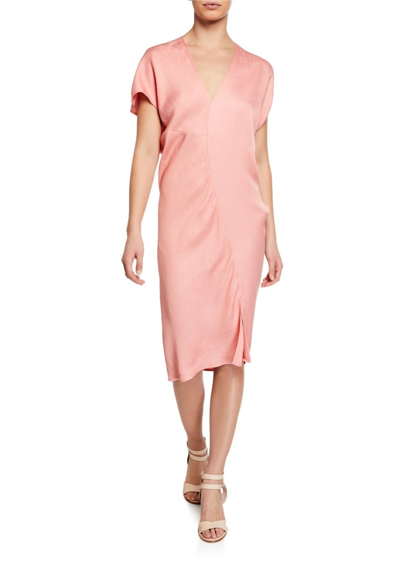 Zero + Maria Cornejo Leila Draped Viscose/Linen Cocktail Dress