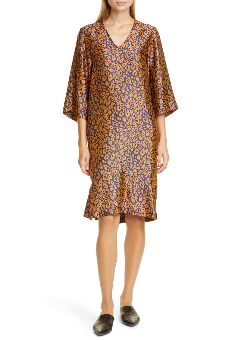 Zero + Maria Cornejo Lumi Cheetah Jacquard Shift Dress