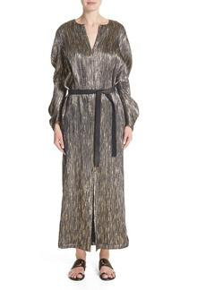 Zero + Maria Cornejo Metallic Silk Blend Midi Dress