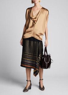 Zero + Maria Cornejo Miro Basket-Weave Wrap Skirt