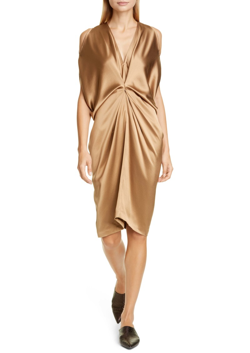 Zero + Maria Cornejo Miu Cold Shoulder Crepe Back Satin Dress