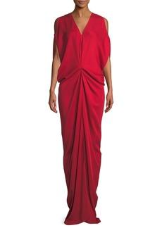 Zero + Maria Cornejo Miu V-Neck Sleeveless Draped Long Dress