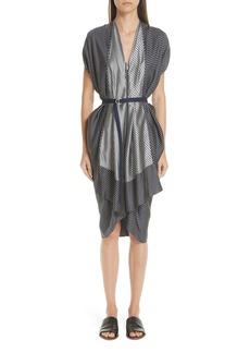 Zero + Maria Cornejo Mixed Stripe Zip Front Belted Dress