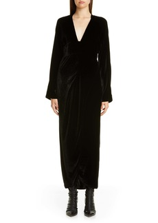 Zero + Maria Cornejo Nadja Velvet Long Sleeve Maxi Dress