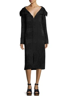 Zero + Maria Cornejo Portrait-Collar Jacquard Dress