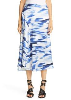 Zero + Maria Cornejo Print Stretch Silk Circle Midi Skirt