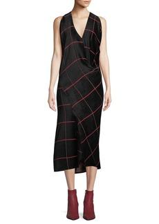 Zero + Maria Cornejo Sarah Bias-Cut Grid Midi Dress