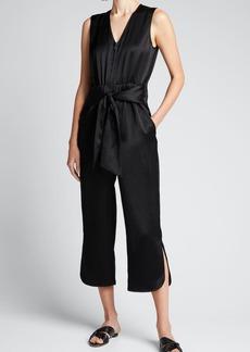 Zero + Maria Cornejo Satin Tie-Front Cropped Jumpsuit