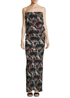 Zero + Maria Cornejo Strapless Flora-Print Maxi Dress