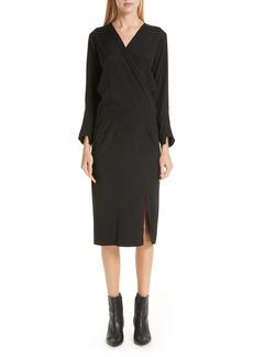 Zero + Maria Cornejo Stretch Silk Faux Wrap Dress