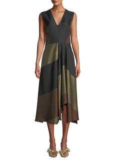Zero + Maria Cornejo Wave V-Neck Sleeveless Colorblocked Striped-Jacquard A-Line Dress
