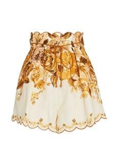 Zimmermann Aliane Floral Linen Shorts