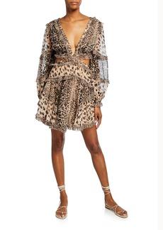 Zimmermann Allia Cutout Animal-Print Short Dress