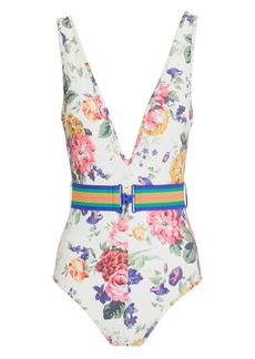 Zimmermann Allia Floral Belted One Piece Swimsuit