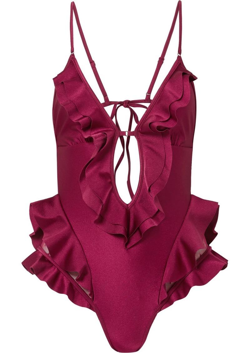 Zimmermann Amari Swiss-dot Tulle-paneled Ruffled Swimsuit