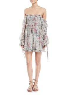 Zimmermann Bayou Off-the-Shoulder Floral Silk Mini Dress