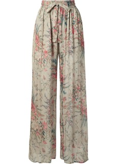 Zimmermann Bayou Shirred Floral-print Silk-crepon Pants