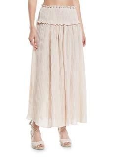 Zimmermann Bayou Smocked-Waist Shirred Maxi Skirt