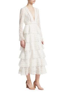 Zimmermann Bayou Tiered Lace Midi Dress