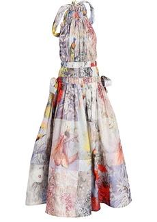 Zimmermann Botanica Silk-Linen Halter Gown