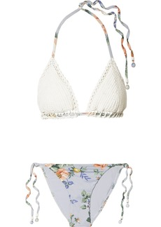 Zimmermann Bowie Crochet And Floral-print Triangle Bikini