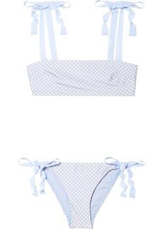Zimmermann Bowie Grosgrain-trimmed Polka-dot Bikini
