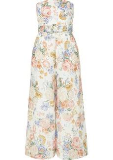 Zimmermann Bowie Strapless Floral-print Linen Jumpsuit