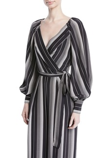 Zimmermann Breeze Long-Sleeve Striped Silk Wrap Blouse